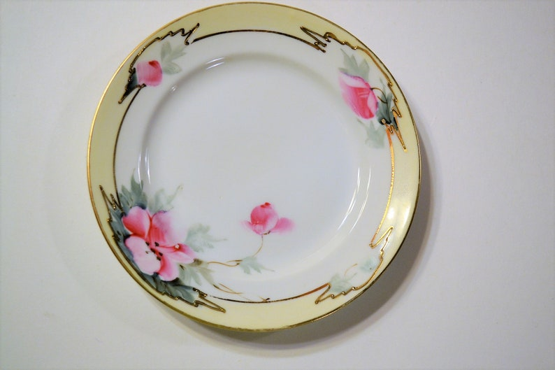Vintage Nippon Bread Dessert Plate Hand Painted Pink Floral image 0