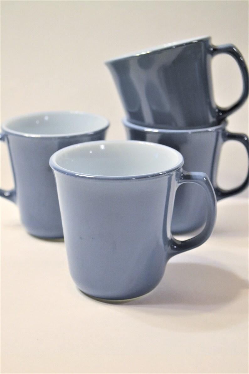 Vintage Pyrex Slate Blue Mug Set of 4  Coffee Cup Tea Mug D image 0