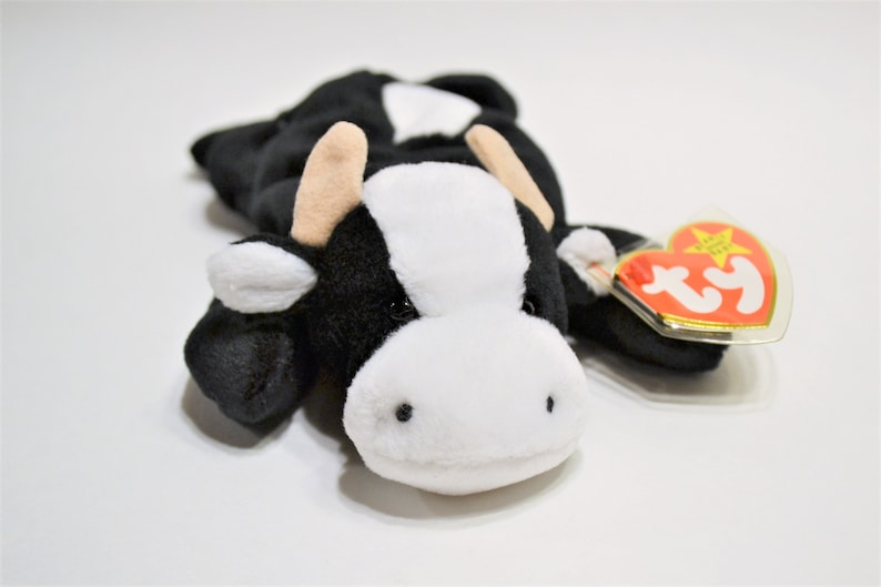 Vintage Ty Daisy Beanie Baby Plush Toy Black White Cow image 0
