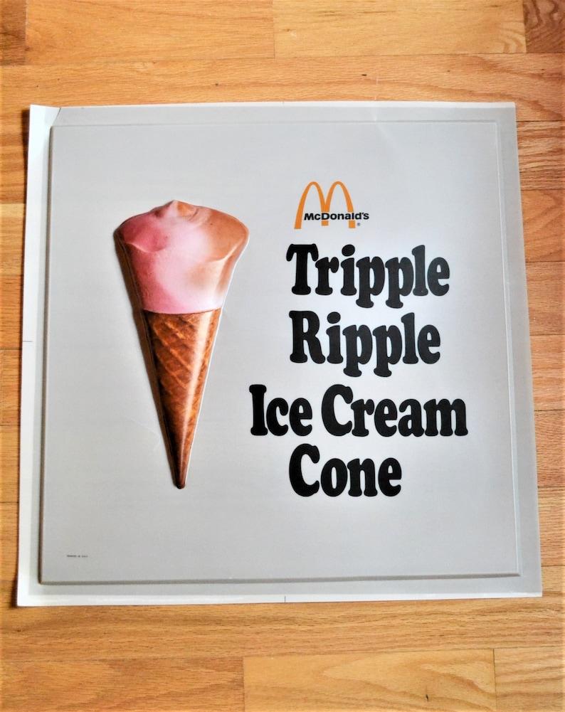 Vintage McDonalds Tripple Ripple Ice Cream Cone 3D Sign image 0