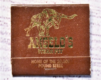 Vintage Angelos Steak Pit Matchbook Brown Gold Restaurant Florida Souvenir Advertising Collectible Paper Ephemera Tobacciana PanchosPorch