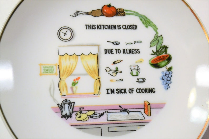 Vintage Decorative Plate Kitchen Closed Sick of Cooking Funny Kitchen Wall  Decor Kitschy Panchosporch