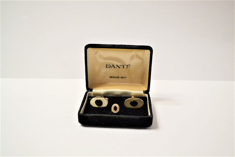 Vintage Dante Onyx Cuff Links Tie Tack Matching Set in Box image 0