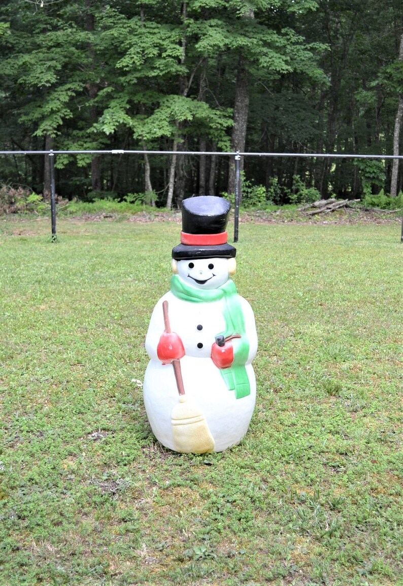 Vintage Snowman Blow Mold Christmas Winter Decoration 40 inch image 0