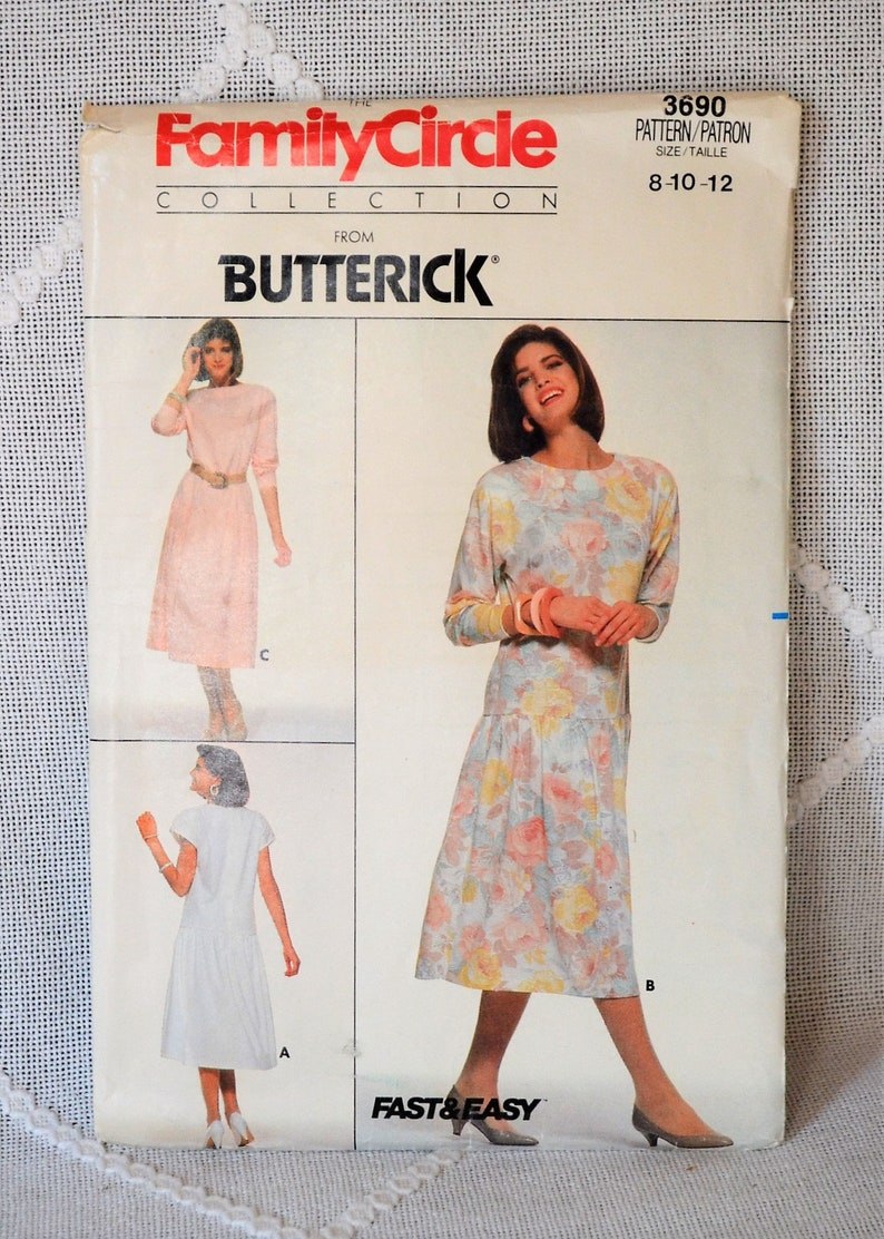 Butterick 3690 Sewing Pattern Misses Dress Size 8 10 12 Crafts image 0