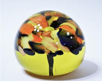 Vintage Blown Glass Paperweight Flower Floral Art Glass Light Amber Yellow Orange Blue Panchosporch