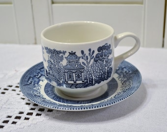Churchill Blue Willow Cup and Saucer Set of 2 with Crazing Blue and White Asian Design England Vintage China Replacement Panchosporch