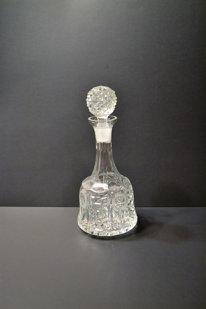 Vintage Crystal Decanter Bottle with Stopper Floral Pattern image 0