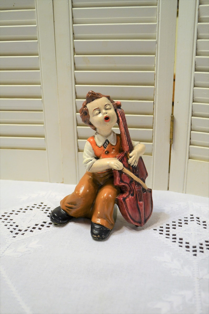 Vintage Ceramic Boy Playing Cello Figurine Statue Boy with image 0