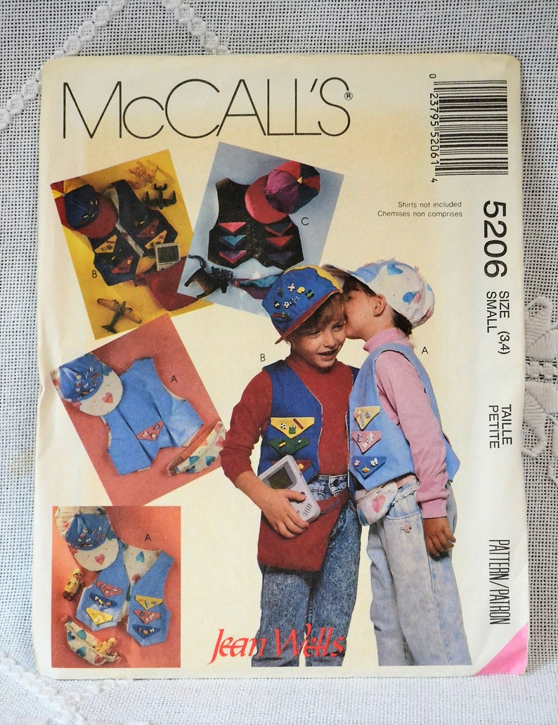McCalls 5206 Sewing Pattern Childrens Lined Vest Cap Belly image 0