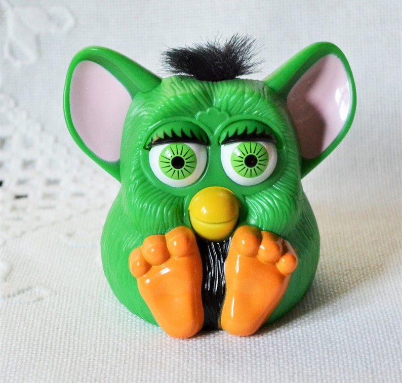 Vintage Furby Toy McDonalds Happy Meal Toy Green Black Hair image 0