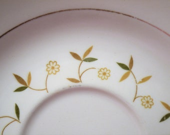 Vintage Floral Saucer Earthy Neutral Colors Daisy Flower Unmarked PanchosPorch
