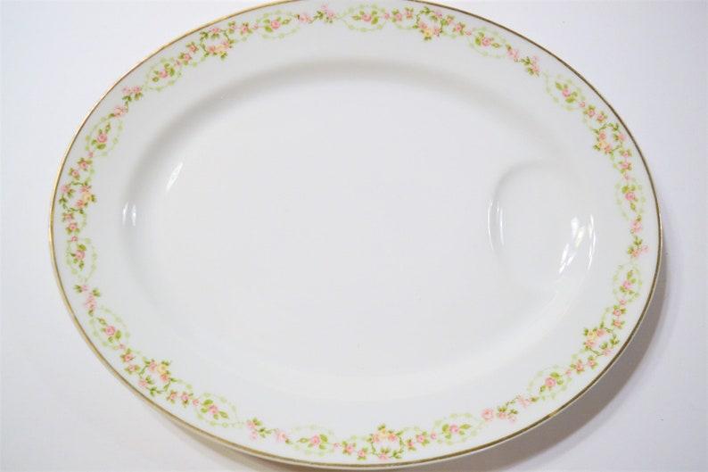 Vintage Theodore Haviland Limoges Oval Meat Platter Pink image 0