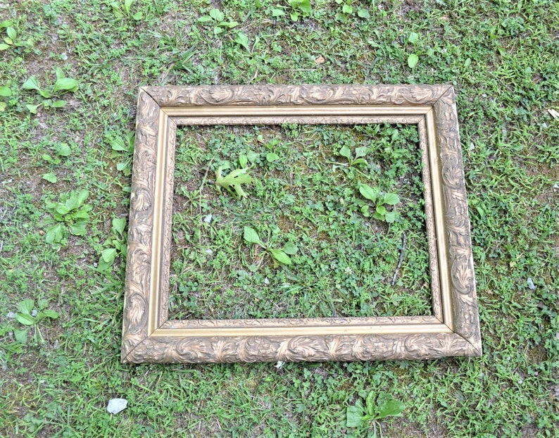 Vintage Large Ornate Wood Frame Chippy Gold Finish Wall Decor image 0