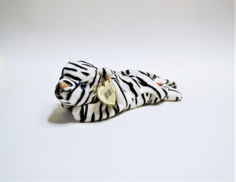Vintage Ty Blizzard Beanie Baby Plush Toy White Tiger image 0