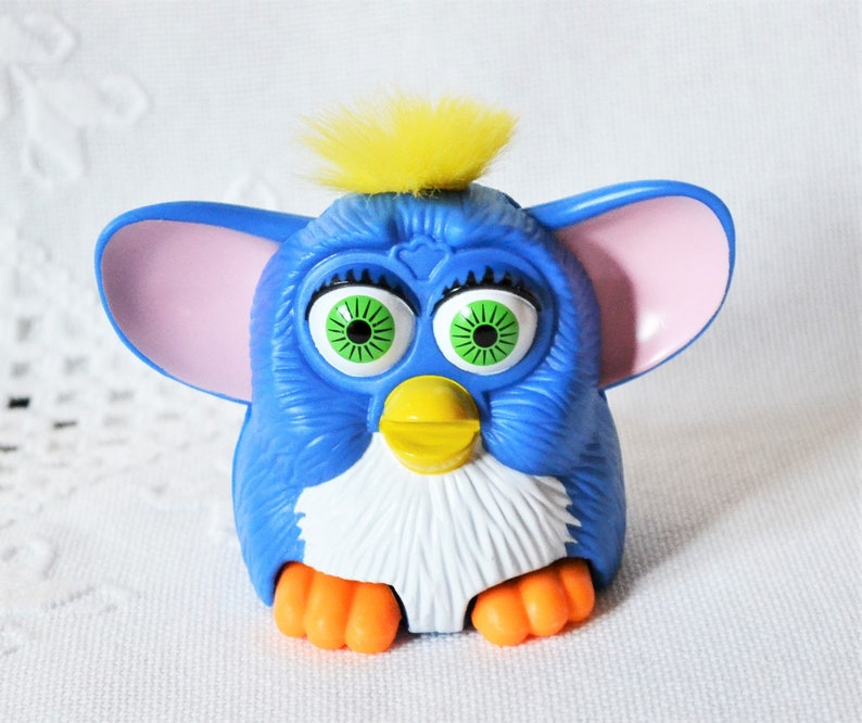 Vintage Furby Toy McDonalds Happy Meal Toy Blue Yellow Hair image 0