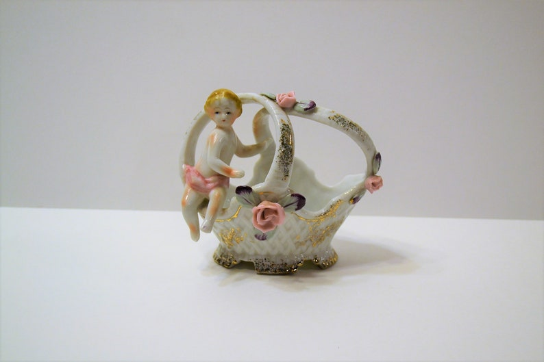 Vintage UCAGCO Basket with Cherub Pink Flowers Hand Painted image 0