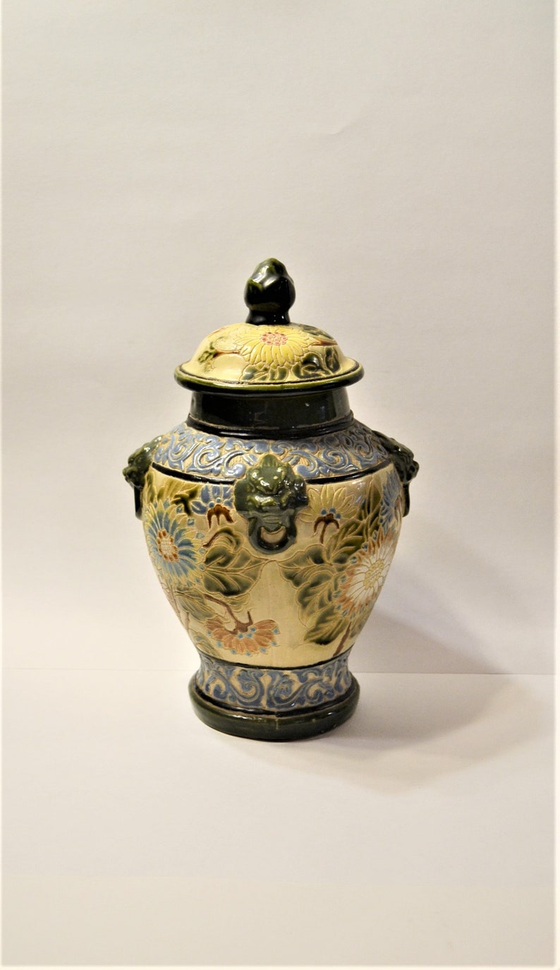 Antique Majolica Temple Jar Pottery Jardiniere with Lion Heads image 0