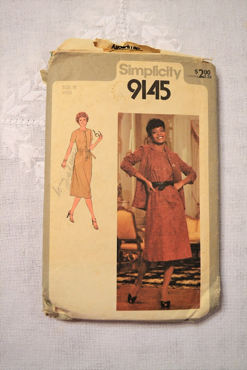 Simplicity 9145 Sewing Pattern Misses Dress Jacket Size 18 DIY image 0