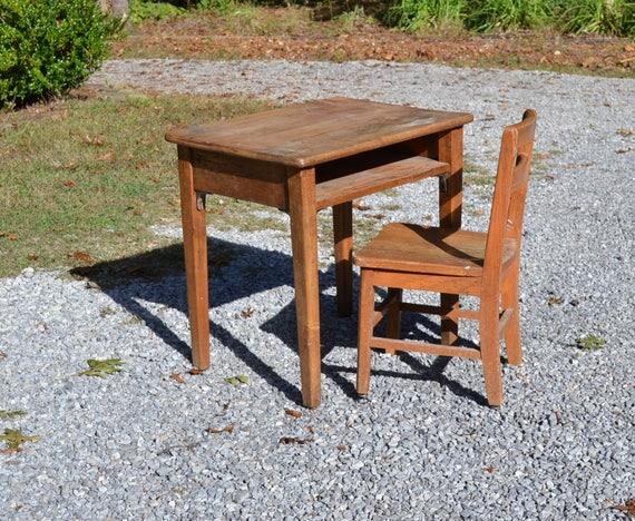 image 0 - Vintage Wood School Desk And Chair Children Kid Size Craft Etsy