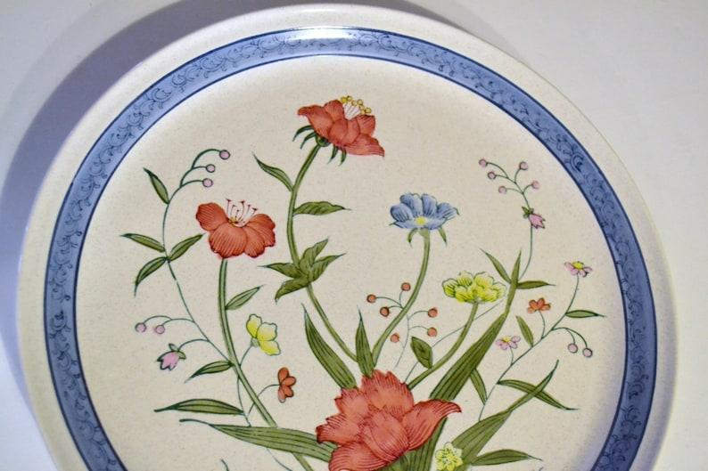 Vintage Andrea by Sadek Fleurs de Chantilly Platter Blue Green Red Flowers PanchosPorch