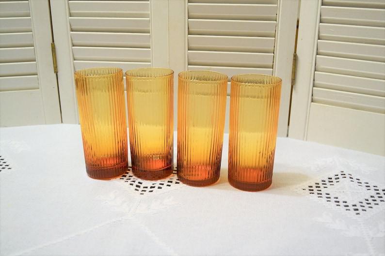 Vintage Dark Amber Glass Tumbler Set of 4 Vertical Ribs High image 0