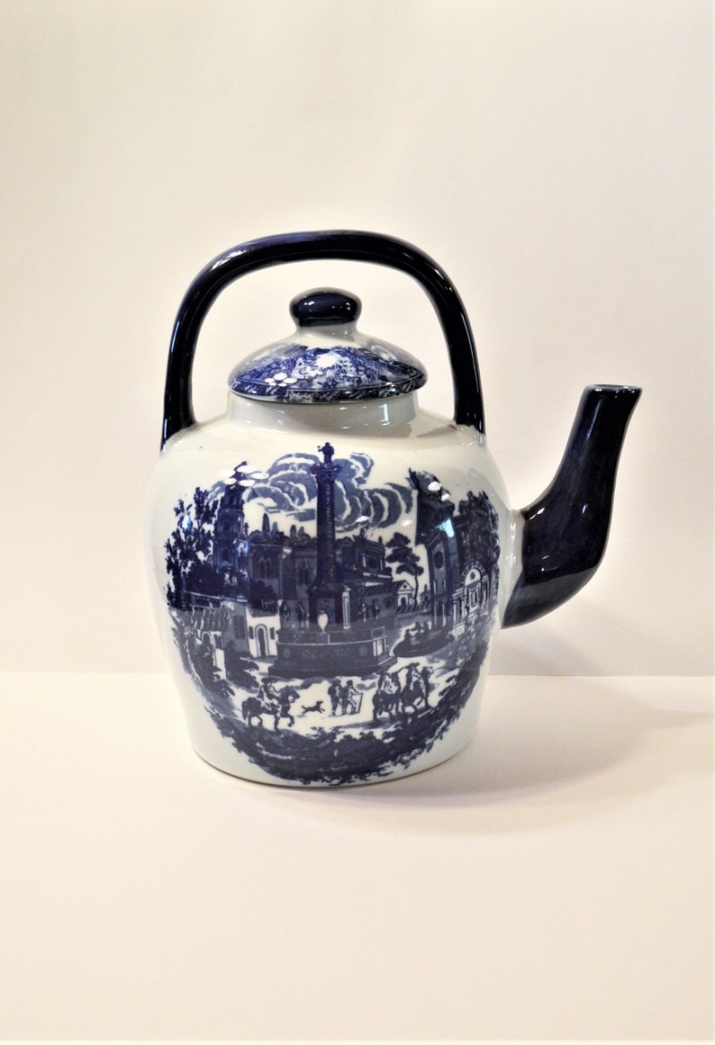Vintage Large Teapot Blue White Transferware Fixed Handle image 0