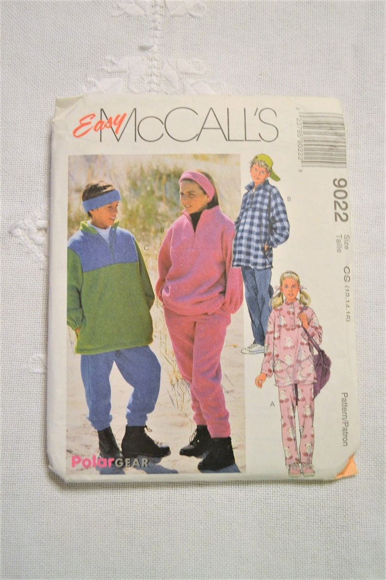 McCalls 9022 UNCUT Sewing Pattern Boys Girls Top Pants image 0