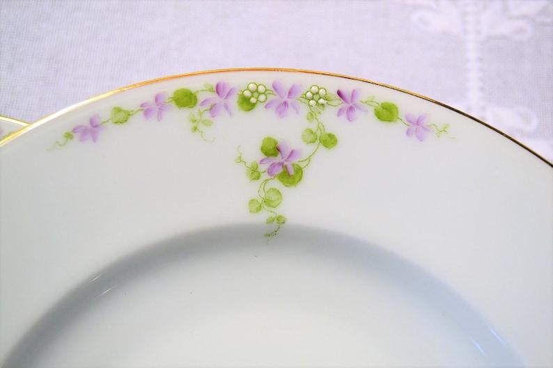 Vintage Tirschenreuth Soup Bowl Set of 3 Purple Violet Flower image 0
