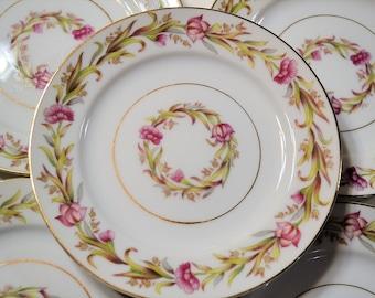 Vintage Shofu Bread Plate Set of 4 Pink Flowers Green Leaves Mid Century Dinnerware Japan Panchosporch