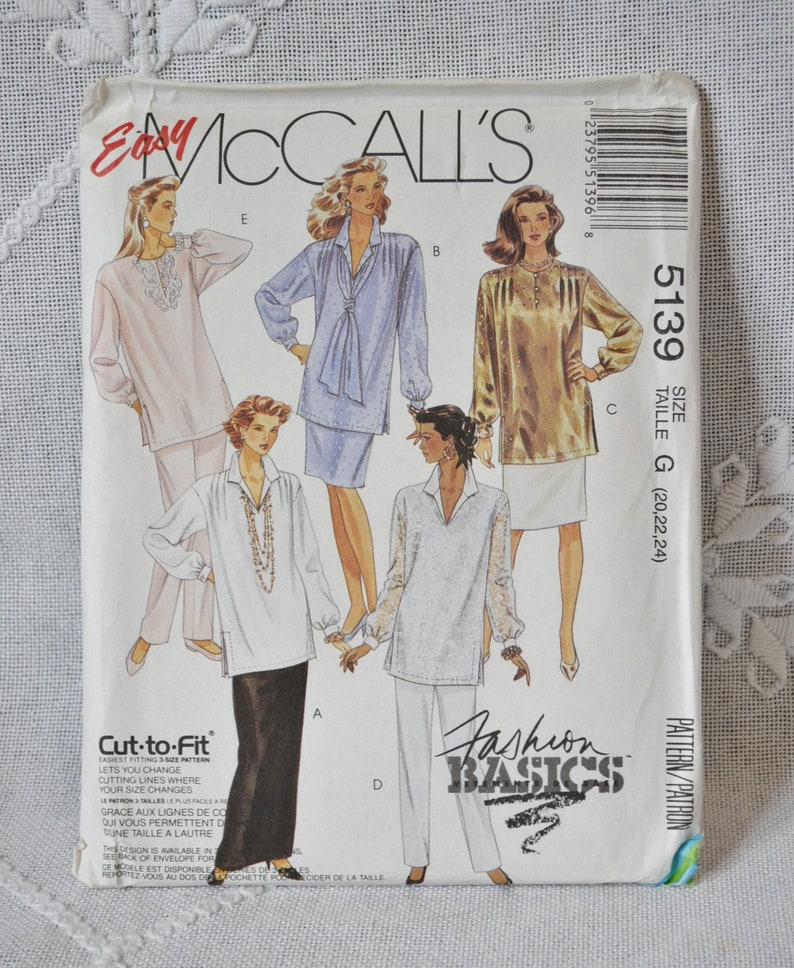 McCalls 5139 Sewing Pattern Misses Tunic Skirt Pants Size 20 image 0