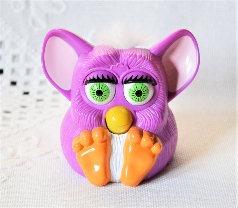 Vintage Furby Toy McDonalds Happy Meal Toy Purple White Hair image 0