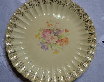 Vintage Imperial Ware Aristocrat  Plate Flowers Pink Peach Purple Gold Details panchosporch