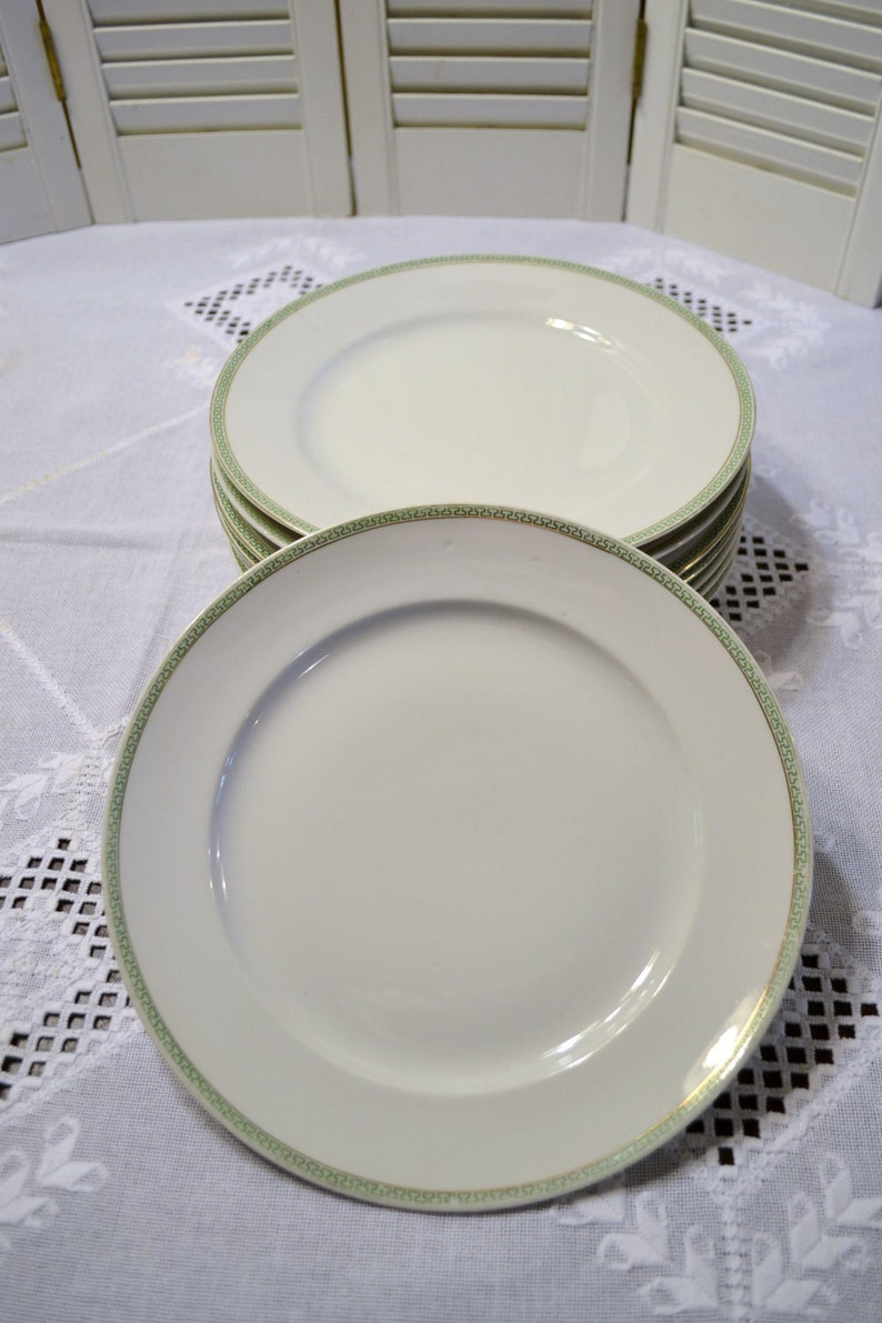 Vintage Nagoya Nippon Dinner Plate Set of 9 Green Geometrical Design Japan PanchosPorch