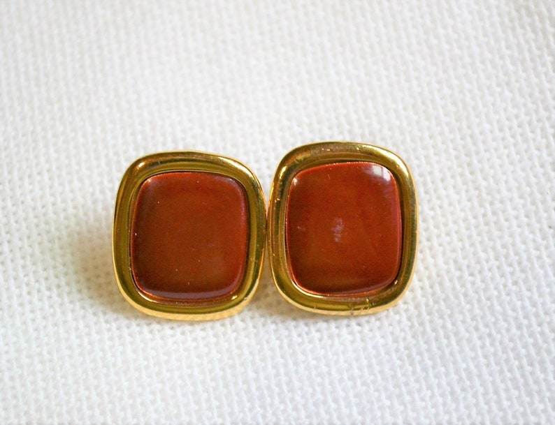 Vintage Red Brown Earrings Rounded Square Pierced Ears Gold image 0