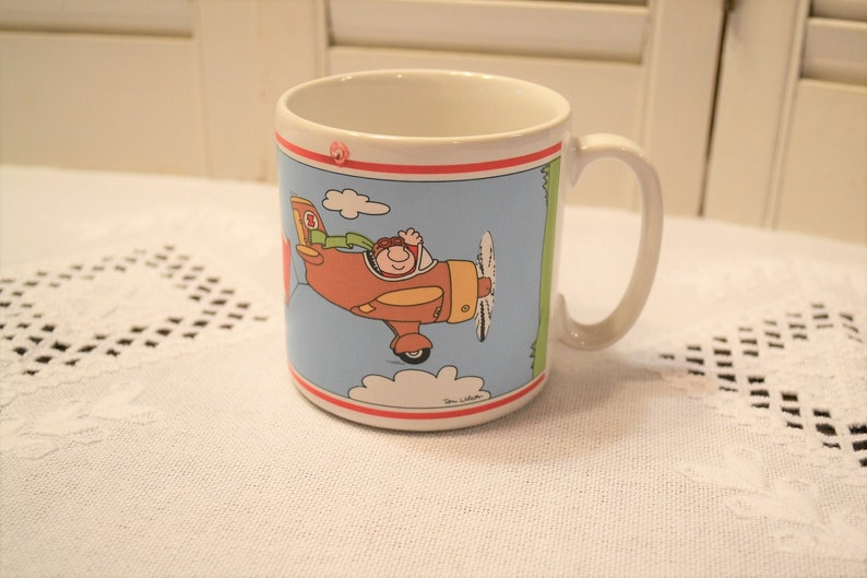Vintage Ziggy Coffee Mug Have a Nice Day Airplane Pilot Banner image 0