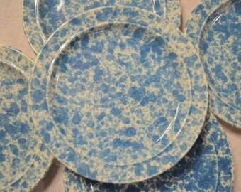 Vintage Homer Laughlin Blue Splatterware Dessert Plate Set of 5  Spongeware Country Farmhouse Replacement USA PanchosPorch