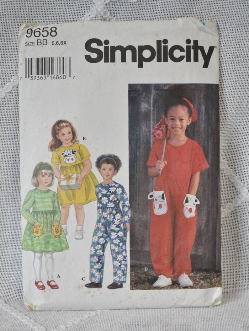 Simplicity 9658 Sewing Pattern Childs Dress Jumpsuit 5 6 6X image 0