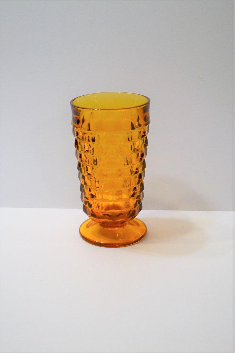 Vintage Whitehall Amber Ice Tea Glass Stacked Cube Cubist image 0