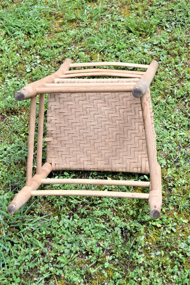 Vintage Wooden Ladderback Chair Woven Seat Rustic Farmhouse Dining Desk Chair Primitive Furniture No 2 PanchosPorch