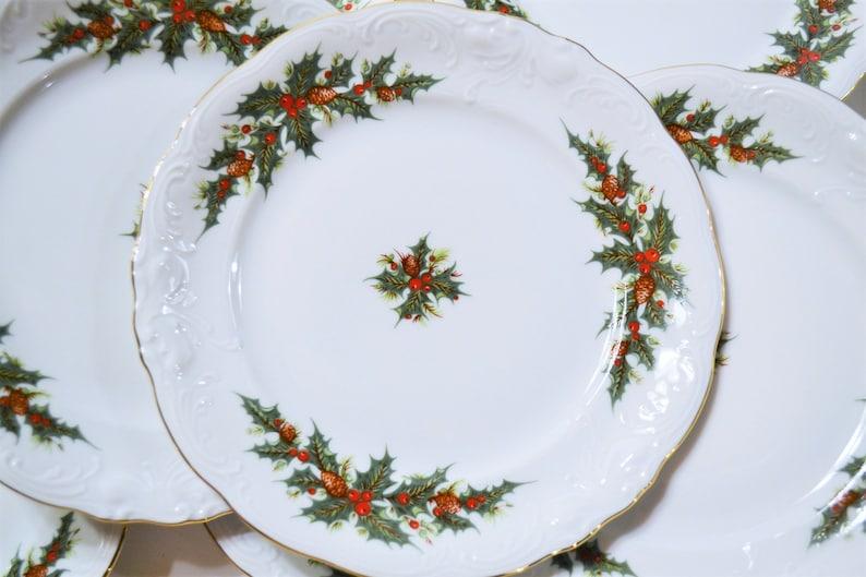 Vintage Royal Kent Holiday Holly Bread Plate Set of 8 Green image 0