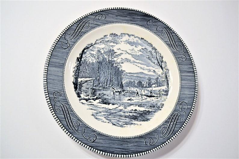 Vintage Currier and Ives Blue Round Platter Chop Plate image 0