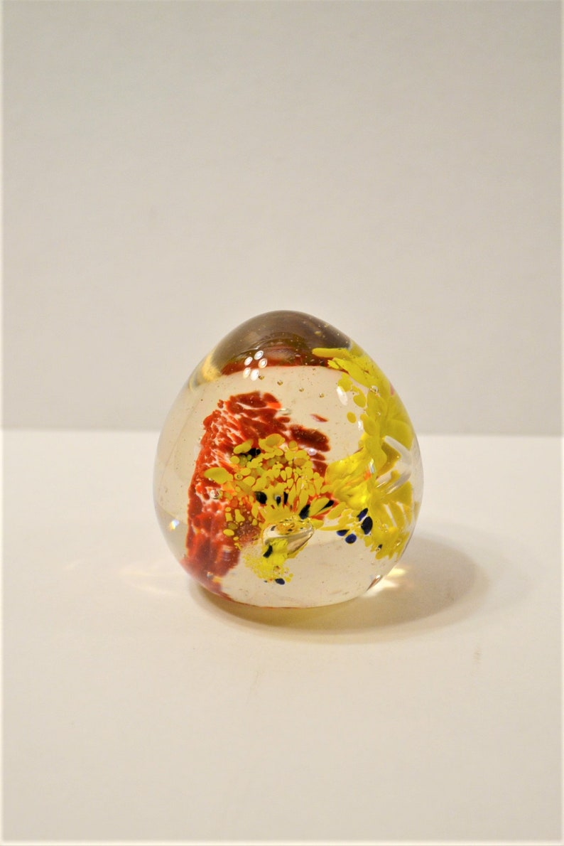 Vintage Glass Paperweight Egg Shaped Red Yellow Black Unmarked image 0