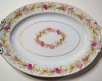 Vintage Shofu Oval Serving Platter Pink Flowers Green Leaves Mid Century Dinnerware Japan Panchosporch