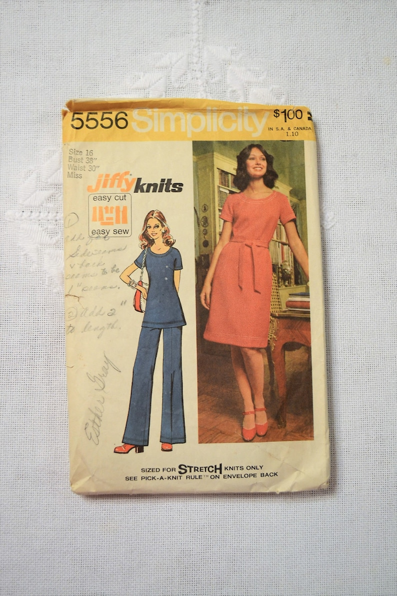 Simplicity 5556 Sewing Pattern Misses Knit Dress Tunic Pants image 0