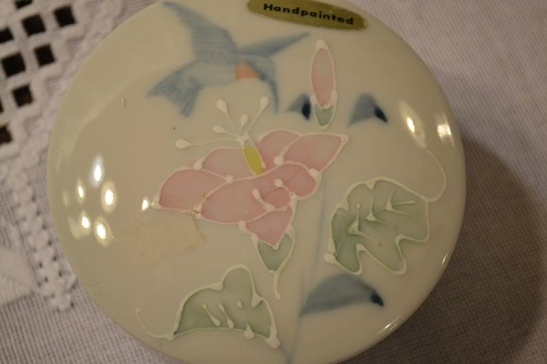 Vintage Otagiri Jewelry Box White Porcelain Hummingbird Flowers Handpainted Enamel Details PanchosPorch