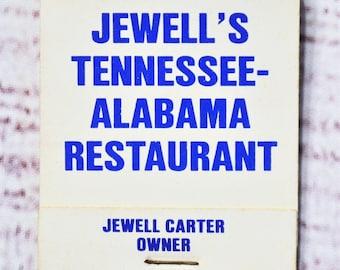 Vintage Jewells Tennessee Alabama Restaurant Matchbook Blue White Souvenir Advertising Collectible Paper Ephemera Tobacciana PanchosPorch
