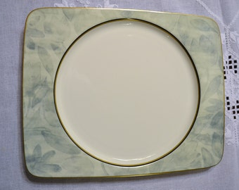 Vintage Mikasa Battique Dinner Plate Rectangular White Green Japan Replacement PanchosPorch