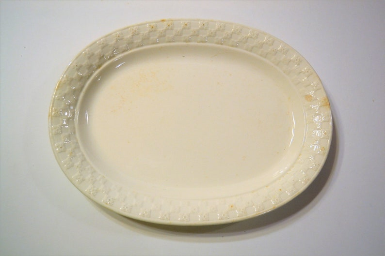 Vintage Taylor Smith Taylor Oval Serving Platter Creamy White image 0