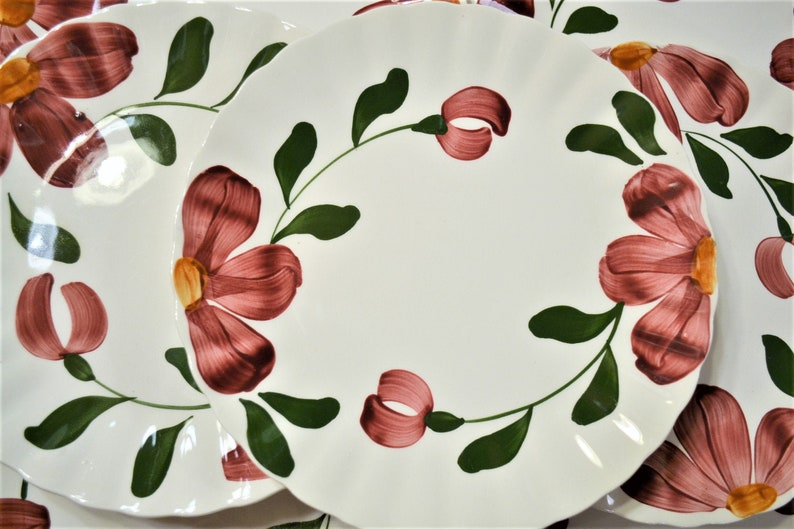 Vintage Blue Ridge Pottery Dinner Plate Set of 8 Red Flowers image 0